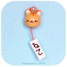 Just too cute! Kitty wind chime by @oborochann #claycharms #windchime #kawaii #furin
