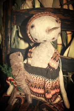 Primitive Snowman Doll by YankeeRidgePrimitive on Etsy, $30.00