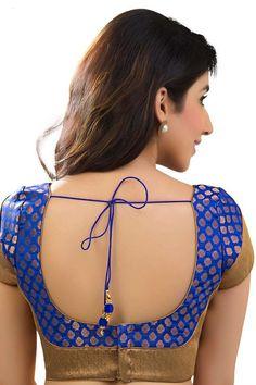 Royal #blue & antique #gold banarasi brocade festive wear #blouse with…