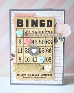 Bingo Valentine's Day card by Jennifer Chapin at Crate Paper :: Kiss Kiss collection