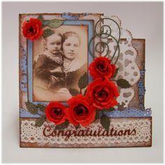 Scraps: Kort med røde roser
