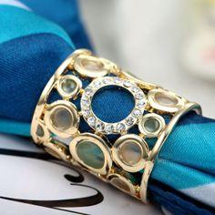 Spona na šatku – Circles – zlatá. www.malovany-hodvab.sk