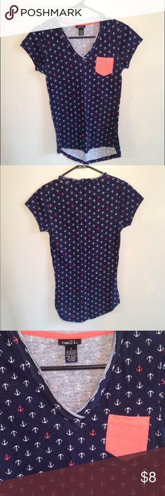 Anchor print pocket v neck t shirt Dark blue v neck tee shirt with pink and white anchors and a pink pocket. Rue21 Tops Tees - Short Sleeve