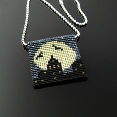Bead loomed silhouette and full moon pendant by CatsWire on Zibbet