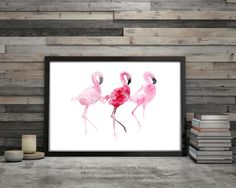 Drei Flamingos Rosa Vögel Wand Malerei Flamingo von ColorWatercolor