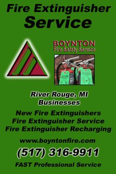 Fire Extinguisher Service River Rouge, MI (517) 316-9911Local Michigan Businesses Discover the Complete Fire Protection Source.  We're Boynton Fire Safety Service.. Call us today!