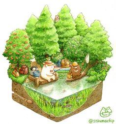 Just a small garden ghost Cute Animal Drawings, Kawaii Drawings, Cartoon Drawings, Cute Drawings, Illustration Noel, Kawaii Illustration, Watercolor Illustration, Bear Drawing, Isometric Art