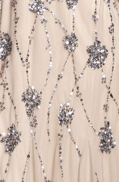Adrianna Papell Beaded One Shoulder Gown pattern close-up Tambour Beading, Tambour Embroidery, Bead Embroidery Patterns, Couture Embroidery, Embroidery Fashion, Hand Embroidery, Embroidery Designs, Sequin Embroidery, Sequins