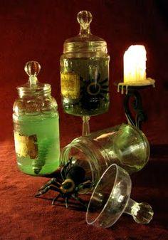 Halloween: DIY Apothecary Jars: (glass candlestick + light source + jar = idea?)