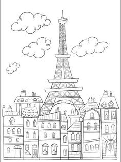 Free coloring page coloring-adult-paris-buildings-and-eiffel-tower. The Eiffel Tower : symbol of Paris, very cute drawing to print & color Cute Coloring Pages, Printable Coloring Pages, Coloring Sheets, Coloring Pages For Kids, Free Coloring, Coloring Books, Online Coloring, Kids Colouring, Doodles