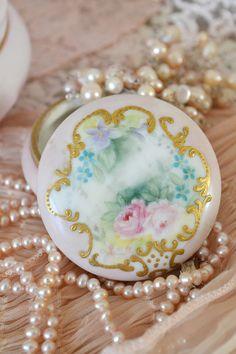 Stunning Antique TV Limoges France Pink Dresser Pot