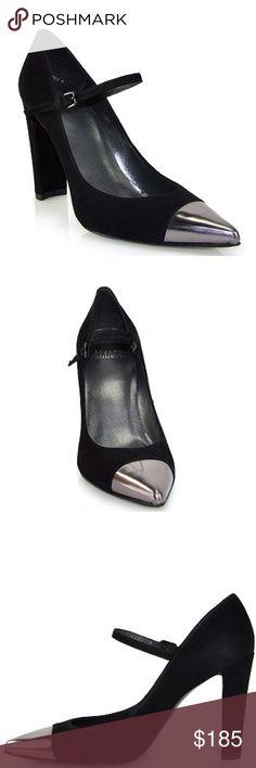"""Stuart Weitzman • Black suede Capsize heel Stuart Weitzman black suede metallic toe """"capsize"""" Mary Jane heels. 4"""" chunky heel. Great condition! Looks like they've been worn once. Size 11. Stuart Weitzman Shoes Heels"""