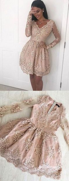 Fabulous A Line V Neck Long Sleeves Champagne Short Homecoming Dress with Lace Appliques,H640