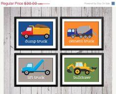 THE 25% BIRTHDAY SALE Trucks, transportation, boy art prints, 4 8x10,  construction decor, construction art, baby nursery decor, kids wall a