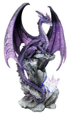 """* This Twilight Dragon with LED Light Crystal Base statue measures 18"""" tall, 12.25"""" wide and 6.25"""" deep approximately.* This Twilight Dragon with LED Light Crystal Base is made of high quality designer resin, individually handpainted and polished. Because each piece is partially hand crafted, color tone may vary from pictures.* Battery operated LED light.* This item depicts a Mighty Twilight dragon perched on rock tower guarding the bright crystal base which is illuminated from within via… Dragon Statue, Dragon Art, Dragon Garden, Blue Dragon, Fantasy Dragon, Fantasy Art, Fantasy Drawings, Fantasy Creatures, Mythical Creatures"""