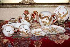 Dragonware Moriage Lithophane Tea Set Marked Nichi Hon (Nippon) Date c. 1950