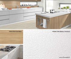 Balta spalva - viena populiariausių kuriant virtuvės interjerą: ji šviesi, sukurianti švaros ir erdvės pojūtį, puikiai tinkanti tiek mažoms, tiek ir didelėms virtuvės erdvėms. Ryškios medienos ar vienspalviai dekorai tokiam interjerui suteikia gyvumo. Stalviršis: W1000 ST89 (Baltas, Premium), gamintojas: EGGER (Austrija) Sienelė tarp stalviršio ir spintelių: H3012 ST22 (Coco Bolo), gamintojas: EGGER (Austrija) Light. Wood. Design. Modern. Furniture. Kitchen