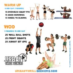 10 overhead squat pvc,10 good morning,15 knees-to-elbows,20 wall-ball shots,20…