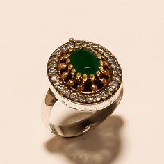 Turkish Ottoman Handmade 925 Sterling Silver Emerald Ring Fine Cocktail Jewelry #Handmade #Ottoman #EidGift