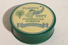 vintage typewriter ribbon tin, Horn of Plenty cornucopia print advertising graphics
