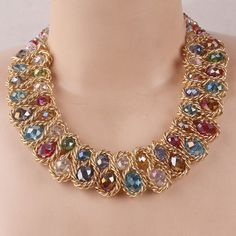 18k Gold Plated Multi-color or Blue Gem Choker Necklace For Women