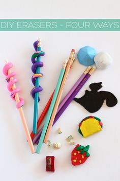 Here are four different ways you can make cute DIY custom erasers, perfect for back to school crafting.