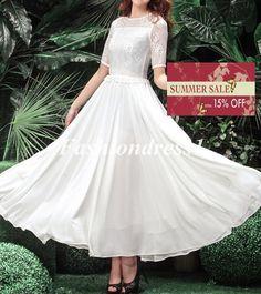maxi white lace dress Chiffon dress Wedding dress by Fashiondress1, $139.99