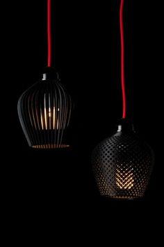 moderne designer lampen pendelleuchten schwarz rot samuel bernier