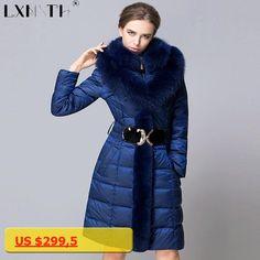 4XL Long Warm Winter Jackets Coats Womens Detachable Fox Fur Feminine Coat Slim Elastic Waist Womens Coats Plus Size 2017