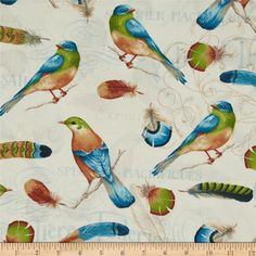 Ornithology Birds & Feathers Cream/Multi from @fabricdotcom  Designed by Daphne B for David Textiles, this cotton print is perfect for quilting, apparel, and home decor accents. Colors include cream, orange, green, blue, and brown.
