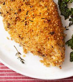 Quinoa Crusted Chicken - quinoa - chicken - Dijon mustard - fresh thyme - olive oil cooking spray