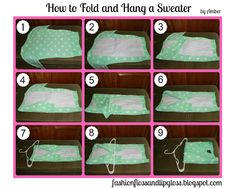 How to Fold and Hang a Sweater! Fashion, Floss and Lip Gloss: Heart Your Wardrobe: Organize Your Clothes #organizeyourcloset
