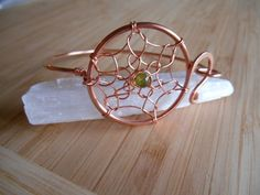 Simple Wire Wrapped Copper Peridot Wire by OurFrontYard on Etsy