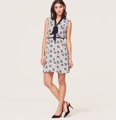 Floral Print Tie Neck Dress | Loft on sale 50% off $85