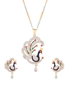 Mesmerizing Meenakari,Cz Peacock Necklace Set | Rs. 1,750 | http://voylla.com