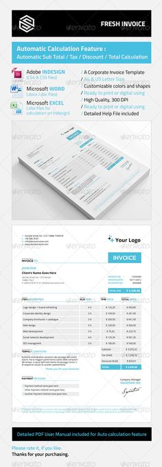 Invoice Template (PDF) business Pinterest Template, Pdf and - proposal template microsoft word