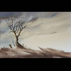 A simple tree in twilight. Line and Wash Watercolor  Latest video posted on YouTube. Link to my YouTube Channel is in my bio or click the following link.  https://m.youtube.com/c/petersheelerart  #Video #youtube #youtubers #landscape #art #original #watercolor #winsorandnewton #watercolour #painting #paintingaday #penandink #architecture #ink #moleskine_arts #canada #ImagesofCanada #tree #sunset #night