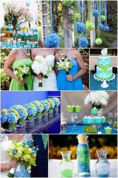 Azul y verde lima