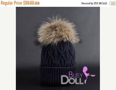 "50.15$  Buy now - http://vilmy.justgood.pw/vig/item.php?t=s2a5tl844651 - 15% OFF Large Genuine Raccoon Fur Pompom knitted Braided Beanie ""Smoky Indigo"" H"