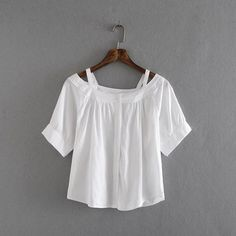 2016 Summer Korean White Small Fresh Sling Strapless Tops ($21) ❤ liked on Polyvore featuring tops, white top, white short sleeve top, print top, white strapless top and patterned tops