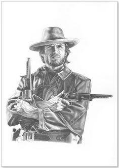 Pencil drawing by artist Jonathan Brown of the iconic cinema character, The Outlaw Josey Wales, played in the movie by Clint Eastwood. Prints are available for $29.99 http://www.jwbartunlimited.com/collections/jwb-cinema-tv-collection/products/josey