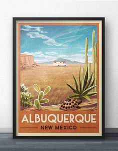 Breaking Bad RV Vintage Travel Poster of Albuquerque, New Mexico This vintage-inspired travel poster Jesse Pinkman, Walter White, Affiche Breaking Bad, Breaking Bad Birthday, Breking Bad, Albuquerque News, Bad Art, Vintage Travel Posters, Oeuvre D'art