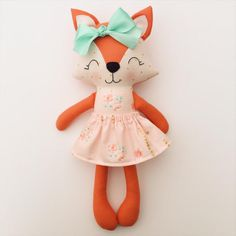 Items similar to Fox doll - fox nursery - baby gift - nursery decor - woodland nursery - cloth doll - birthday gift on Etsy Fox Nursery, Woodland Nursery Decor, Nursery Crib, Fabric Animals, Dress Up Dolls, Sewing Toys, Stuffed Animal Patterns, Fabric Dolls, Rag Dolls