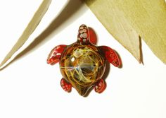 Cosmic Red Turtle - Glass Turtle Pendant by CreativeFlowGlass at www.blownglassturtle.com