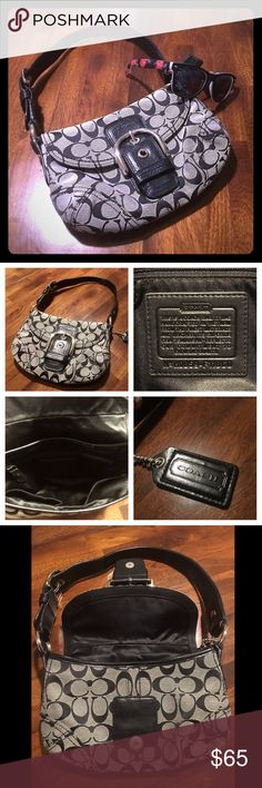 "Coach"" Soho Signature Bag ""Coach"" Soho Signature Flap/ Buckle Bag: - Authentic Coach A0873-11860  - Excellent condition (no stains or rips) - fits all phones including iPhone 6sPlus - Features: Interior divided into 2 sections, one smaller section and the main section features zip pocket and two smaller pockets. Magnetic snap closure.  Adjustable black leather strap. Interior fabric lining black.  - Size: 10""(L) x 7""(H).   - Retail Price: $218 Coach Bags Shoulder Bags"