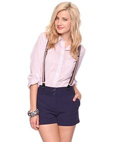 Cute shorts with suspenders Suspenders Outfit, Suspenders For Women, Belly Shirts, Jumper Dress, Cute Shorts, Casual Looks, Short Dresses, My Style, Sweet Style