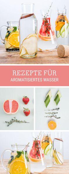 Leckere Rezeptidee für gesunde Drinks: Aromatisiertes Wasser mit Früchten selbermachen / fruity water ideas, healthy living via DaWanda.com