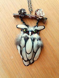 White owl necklace Owl small dream catcher by DreamyFlowerWonder