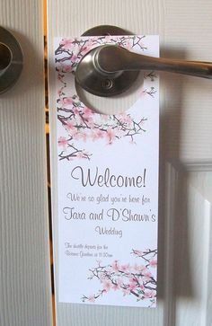 Hotel Door Hangers  CHERRY BLOSSOMS  Double Sided by paperpixie