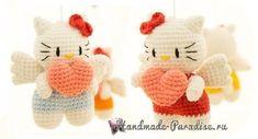 Котенок-ангел с валентинкой. Амигуруми крючком. Схемы вязания и описание.